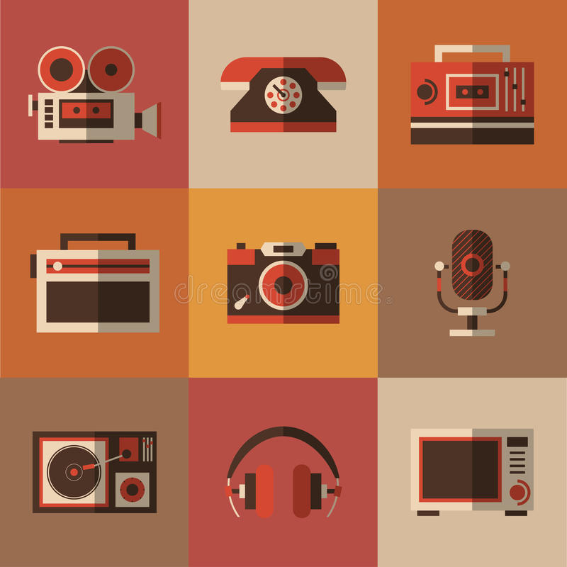 Radio, photo, phone, microphone in one picture. Set of nostalgy items. Radio, photo, phone, microphone in one picture, vector illustration for your design, eps vector illustration
