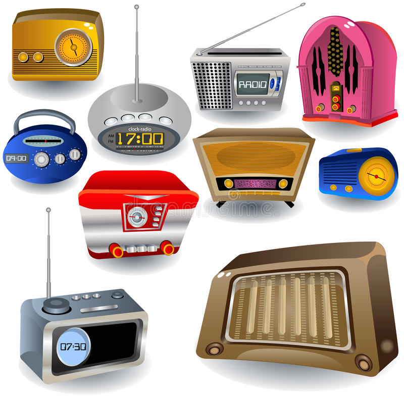 Radio Pictogrammen stock illustratie