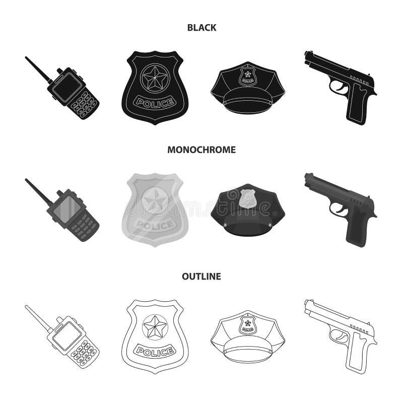 Radio, politiemankenteken, eenvormig GLB, pistool Pictogrammen van de politie de vastgestelde inzameling in de zwarte, zwart-wit, stock illustratie