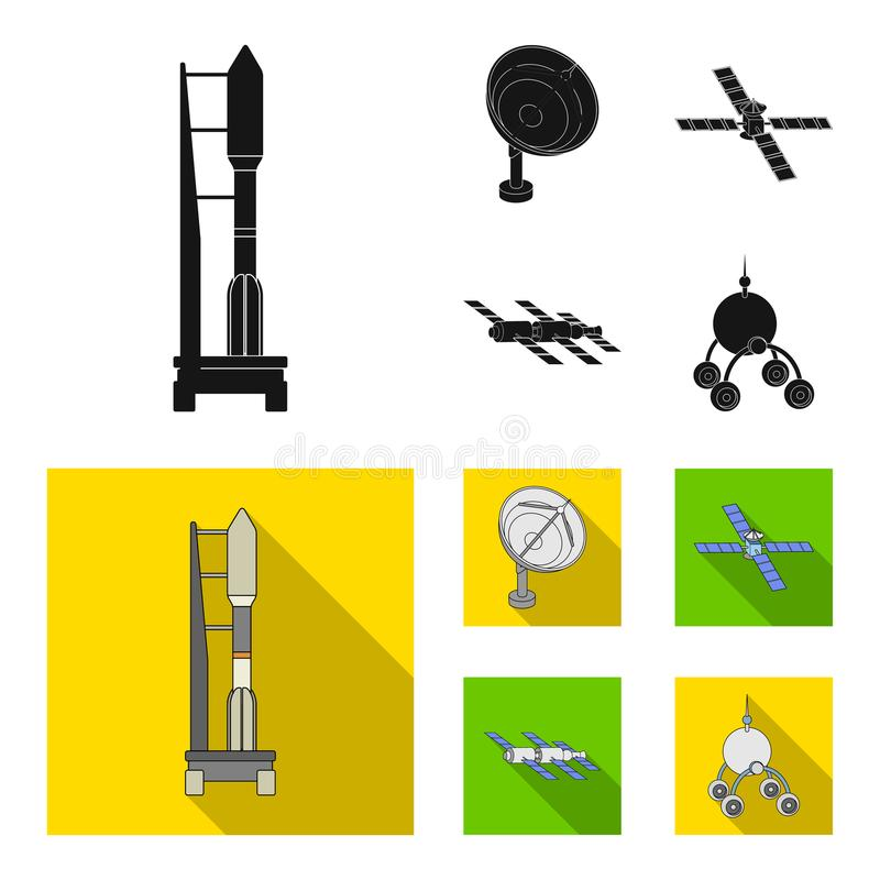 Radio radar, docking in space spacecraft, Lunokhod. Space technology set collection icons in black, flat style vector. Symbol stock illustration royalty free illustration