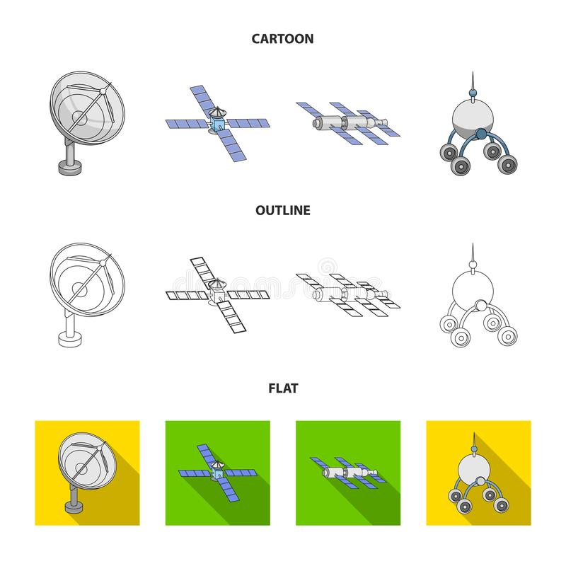 Radio radar, docking in space spacecraft, Lunokhod. Space technology set collection icons in cartoon,outline,flat style. Vector symbol stock illustration vector illustration