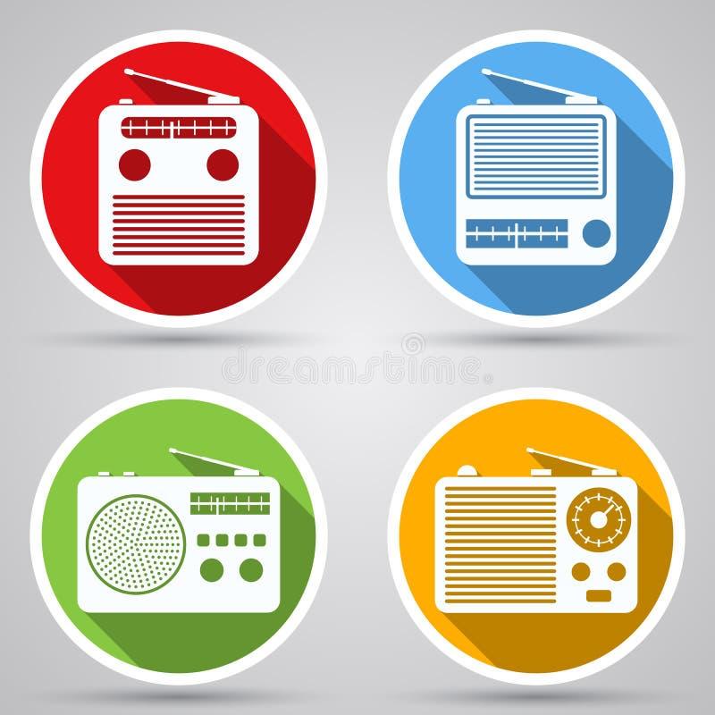Radio receiver vector icons. A set of retro radio receiver vector icons stock illustration