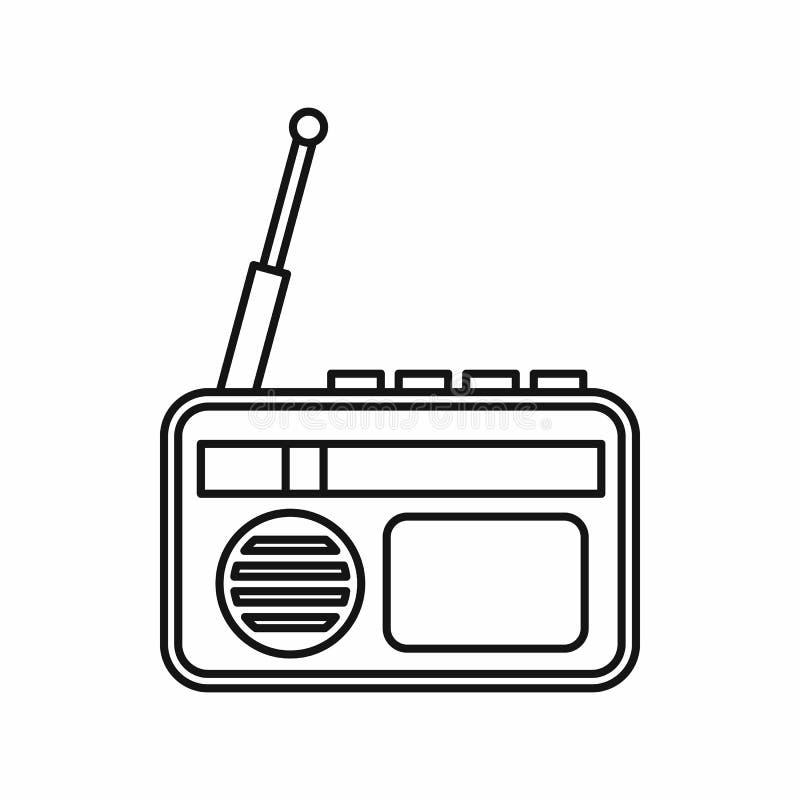 Radio reclamepictogram, overzichtsstijl stock illustratie