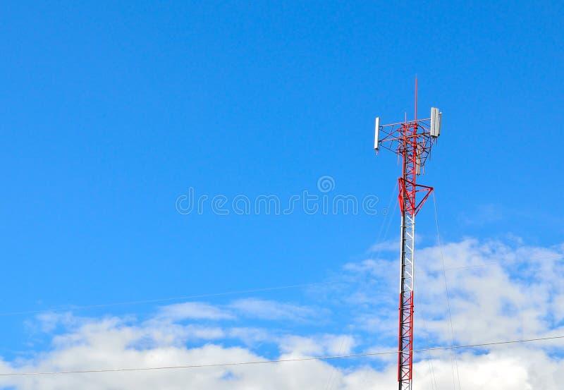 Radio Relay Link, Mobile Base Station. Aerial antenna bandwidth base blue broadcast stock photo