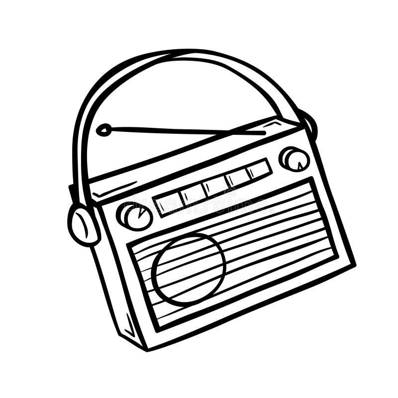 Radio retra en estilo del garabato stock de ilustración