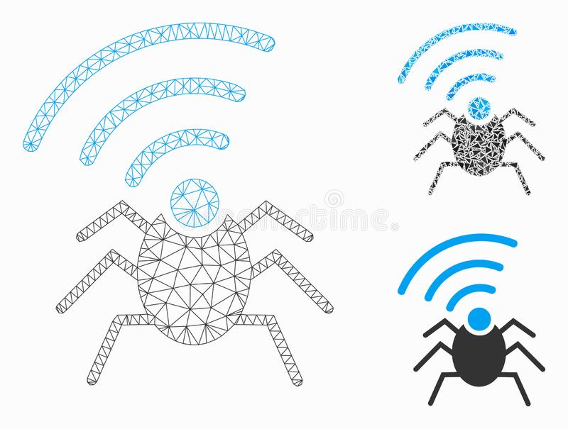 Radio Spy Bug Vector Mesh Carcass Model and Triangle Mosaic Icon. Mesh radio spy bug model with triangle mosaic icon. Wire carcass triangular mesh of radio spy royalty free illustration