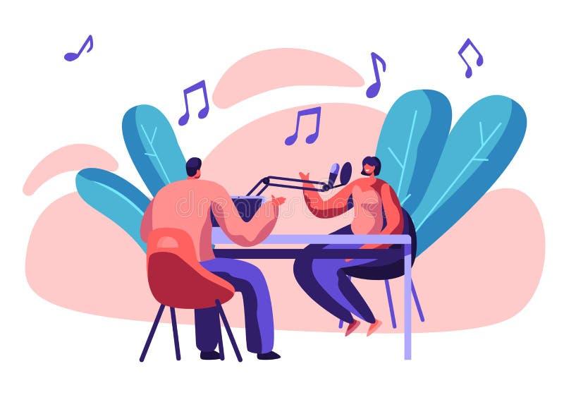 Radio stacji podawca z mikrofonem w studiu Dj kobiety i dżokeja gospodarza sztuki muzyka Rozrywki transmisja dla ludzi ilustracja wektor