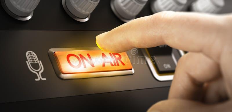 Radio-station, aan-luchtteken royalty-vrije stock fotografie