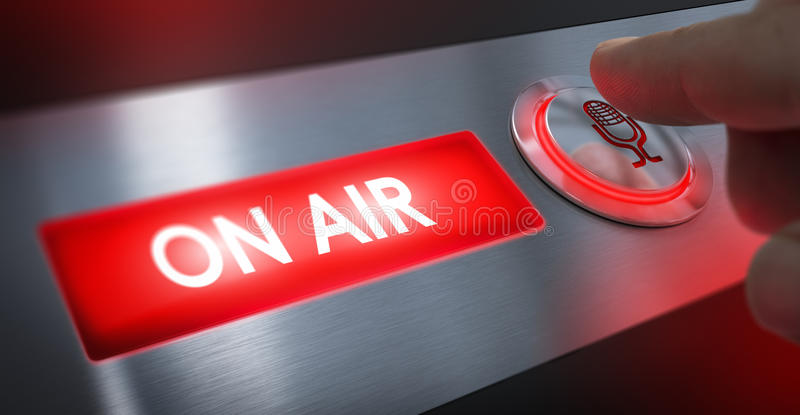 Radio Station, On Air Sign. Finger pressing a microphone button to activate an on air sign. Composite between an image and a 3D background stock image
