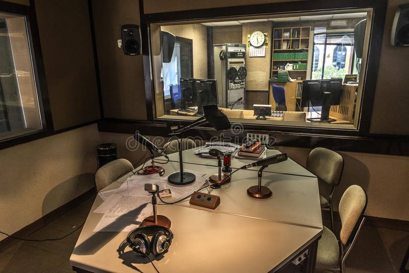 Radio station. Booth radio station microphones cavina of recording stock images