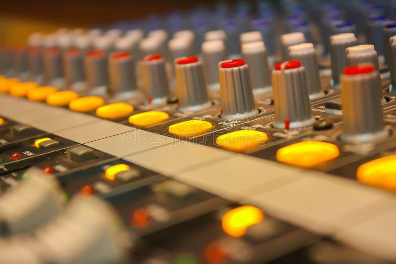 Radio Station, Recording Studio, Radio, Audio Equipment, Television Studio. Close up of music mixer equalizer console for mixer control sound device. Sound stock photography