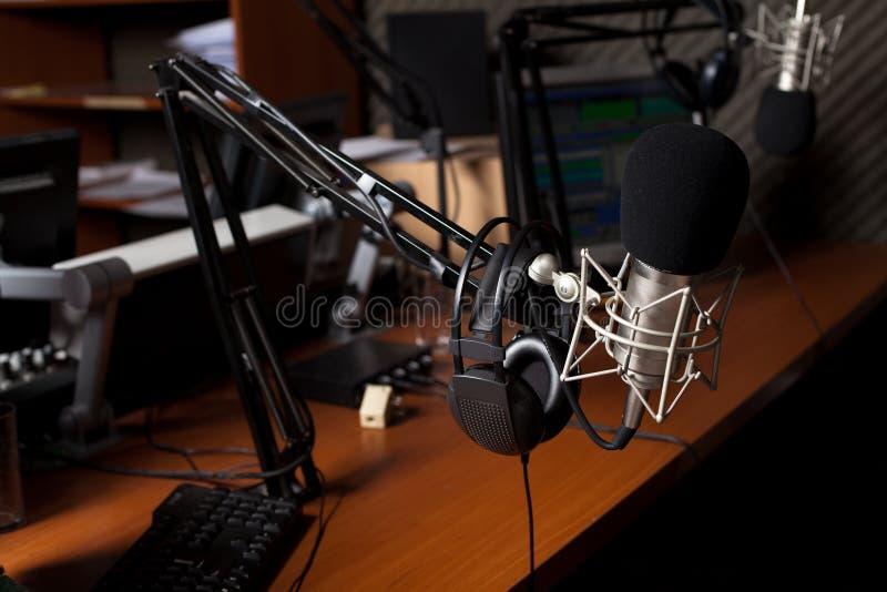Radio studio. Preparing the news broadcast, radio studio stock image