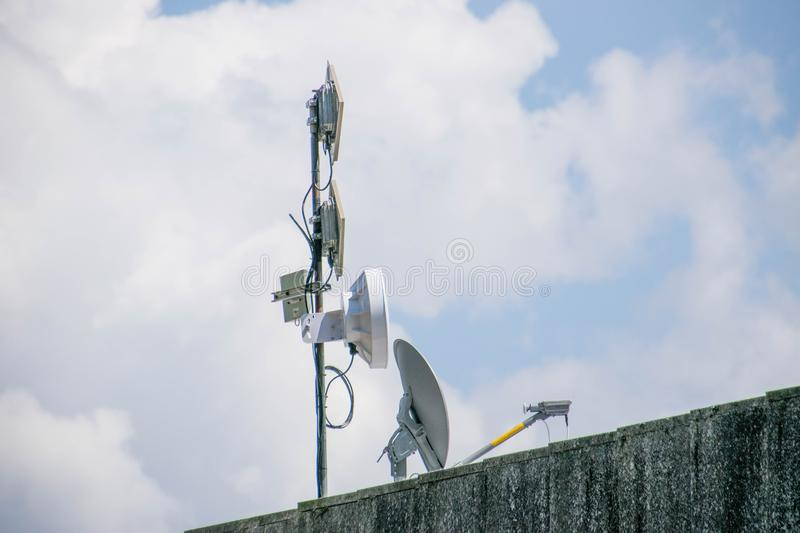 Telephone and radio antenna. Radio and telephone antenna for short-wave telecommunications stock photography