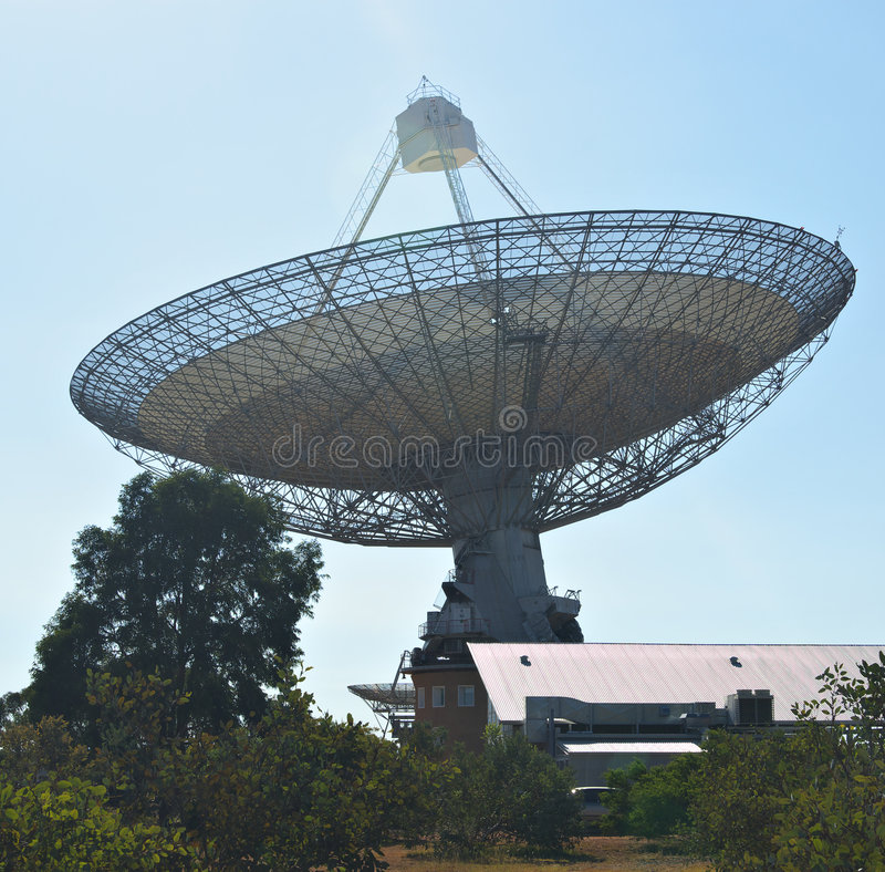 Radio telescope. The huge satellite dish that is the receiver for parkes radio telescope stock photography