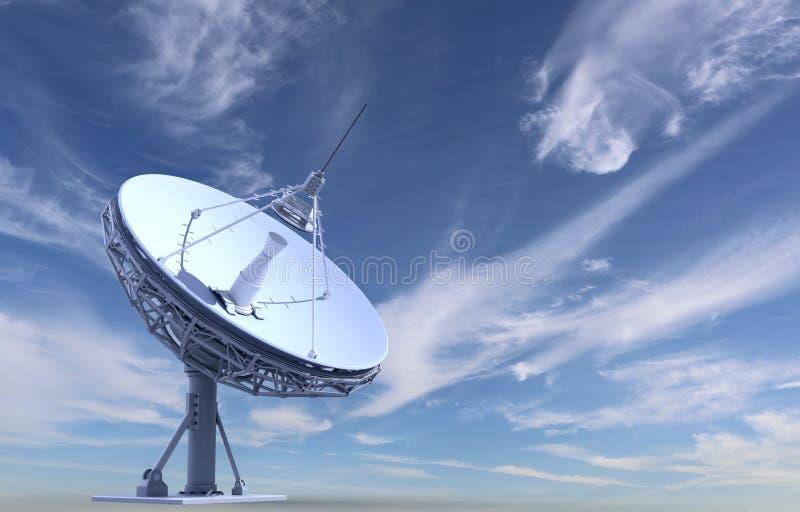 Radio telescope. On sky background royalty free illustration
