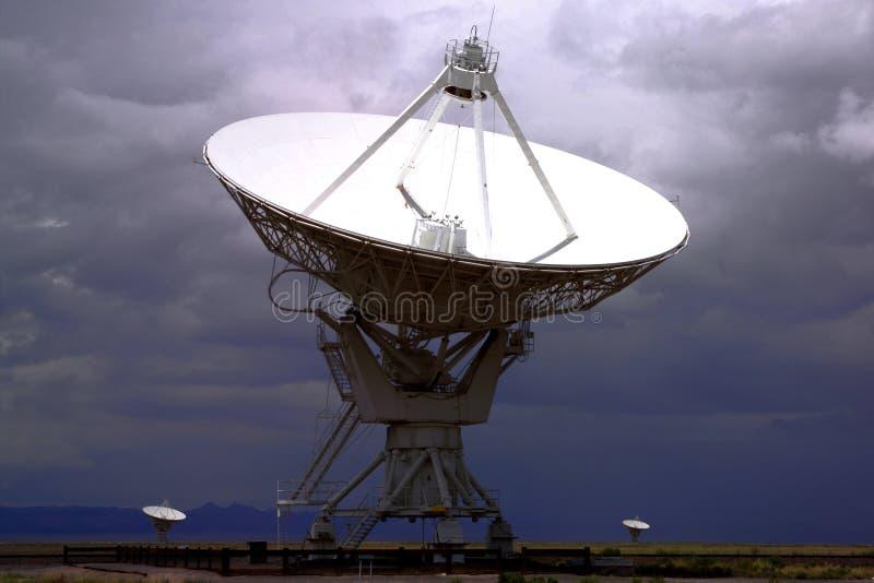 HIGH TECH ELECTRONIC RADIO TELESCOPE BACKGROUND. High Tech Electronic Radio Telescope Aiming Toward Outer Space Background stock photos