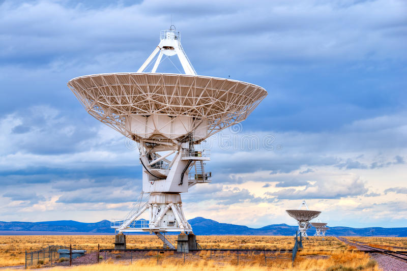 Radio Telescope. Radio antenna dishes of the Very Large Array radio telescope in New Mexico, searching for yesterday stock photography