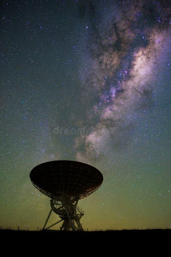 Radio Telescope. AUT university Radio Telescope with the milky-way in the background stock image
