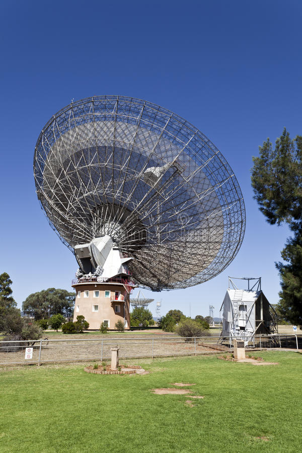 Radio Telescope Dish. The historical radio telescope dish which actively took part in the 1969 first landing of man in the moon located in Parkes, New South stock photography