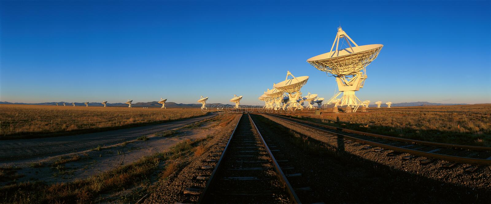 Radio telescope dishes at National Radio Astronomy Observatory in Socorro, NM stock image