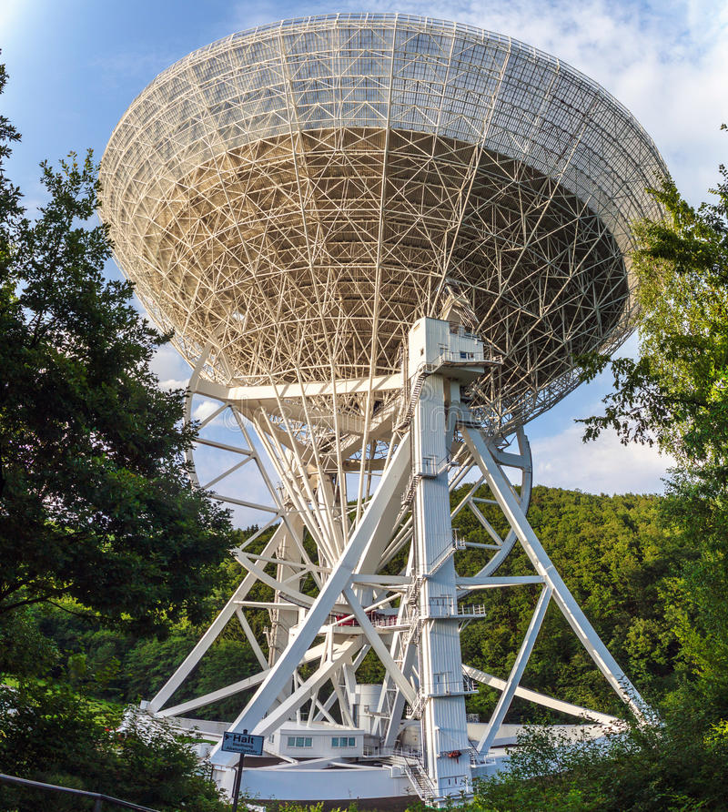 Radio Telescope Effelsberg. In Germany with a diameter of 100 meters, second largest fully steerable radio telescope on the Earth royalty free stock photo