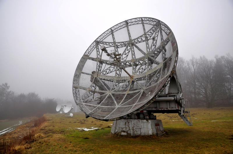 Radio Telescope. In Park Research Institute of the Academy of Sciences in Ondrejov Observatory in the Czech Republic royalty free stock photos