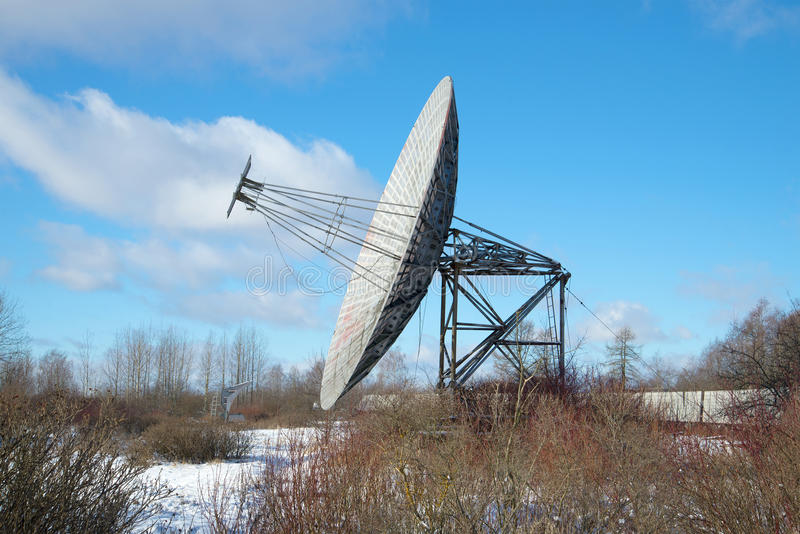 The radio Telescope of the Pulkovo Observatory February day. Saint Petersburg. The radio Telescope of the Pulkovo Observatory February day. View profile. Saint stock photo