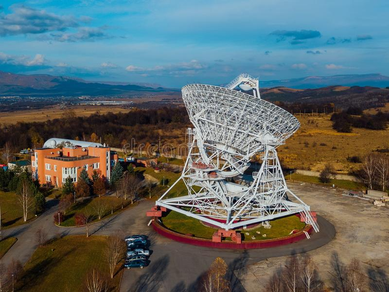 Radio telescope satellite dish, aerial view from drone royalty free stock image