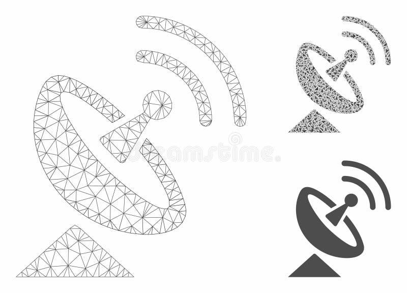 Radio Telescope Vector Mesh Carcass Model and Triangle Mosaic Icon. Mesh radio telescope model with triangle mosaic icon. Wire carcass polygonal mesh of radio vector illustration