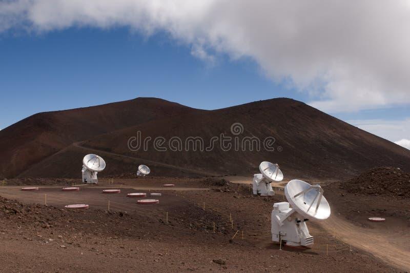 Radio telescopen, Mauna Kea, Groot Eiland, Hawaï stock afbeelding