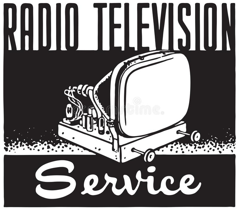 Radio Television Service. Retro Ad Art Banner royalty free illustration