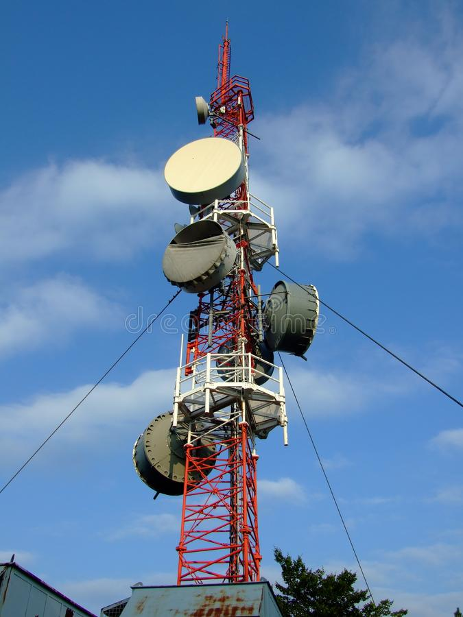 Radio tower with devices for mobile and internet communication. Radio tower with devices for mobile communication stock photography