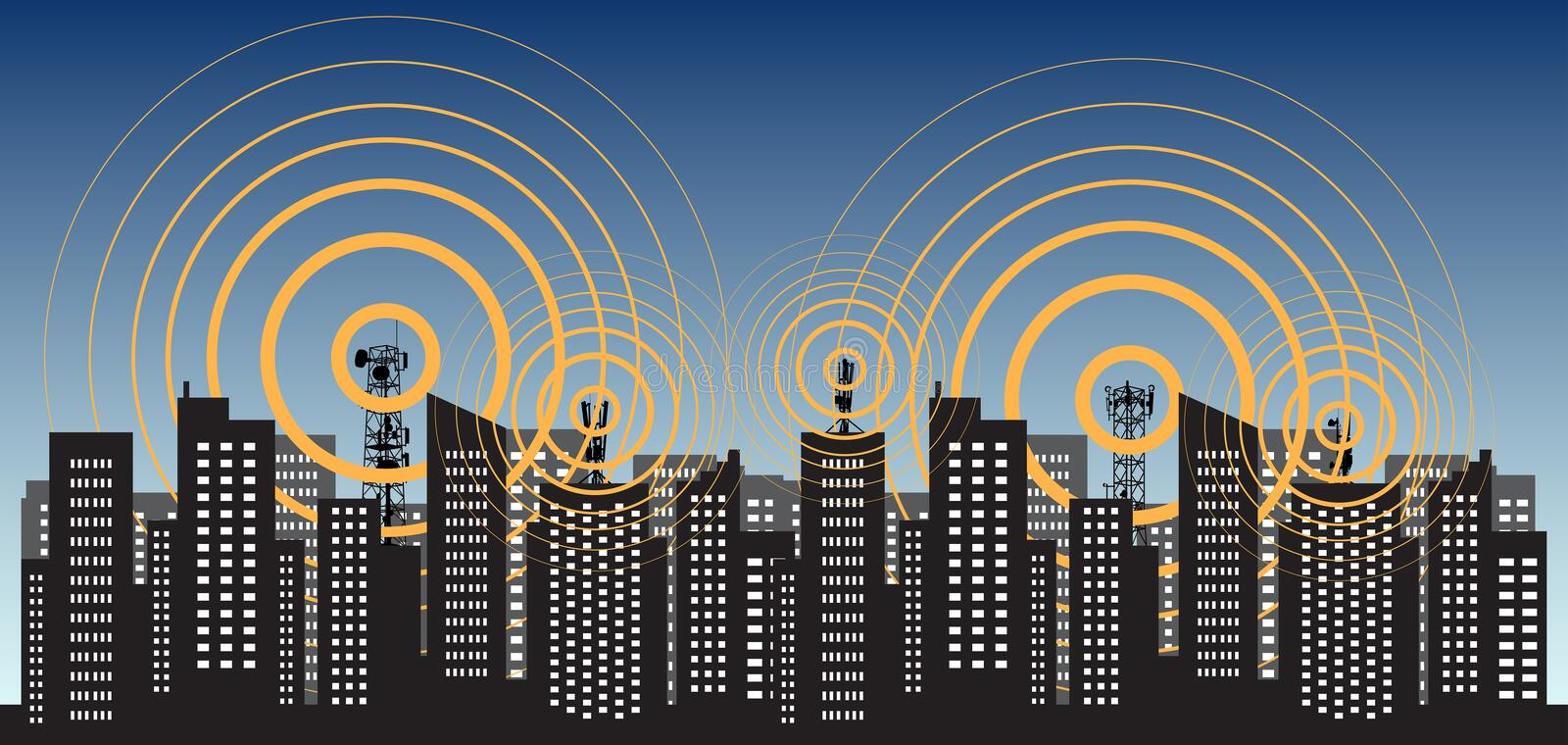 Radio tower 5G irradiate the city. Tower transmitter GSM. Vector illustration stock images