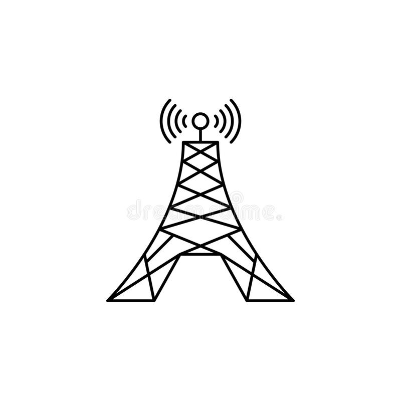 Radio tower icon. Media signs for mobile concept and web apps. Thin line icon for website design and development, app development. Premium icon on white stock illustration