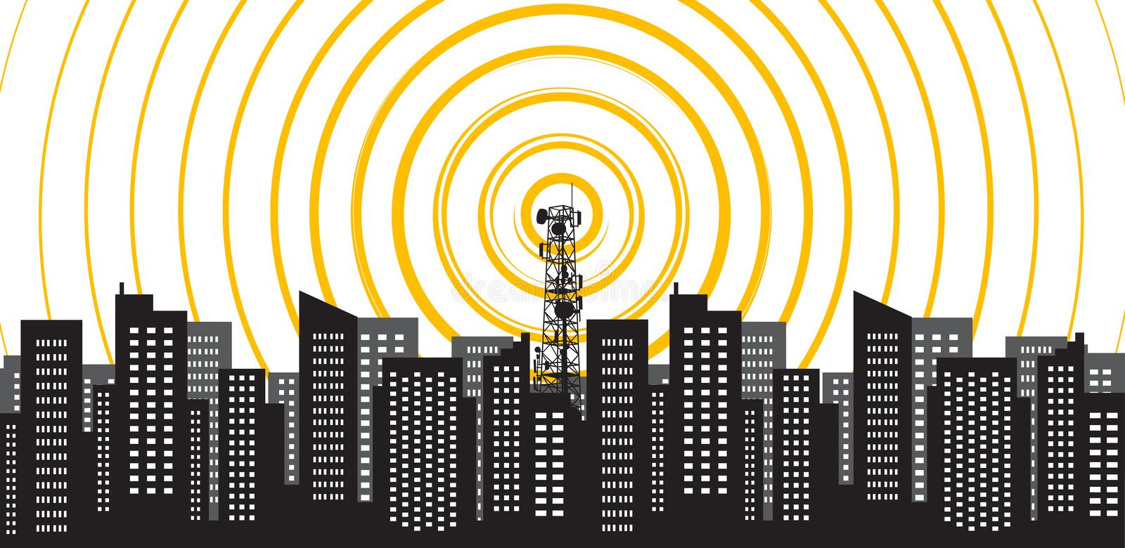 Radio tower irradiate the city. Tower transmitter 5G. Vector illustration royalty free stock image