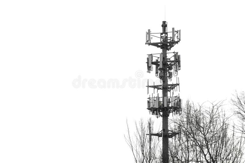 Radio communication tower warning signal sirens monochrome. Radio tower for telecommunication and warning sirens in case of bad weather or hazardous conditions royalty free stock photos