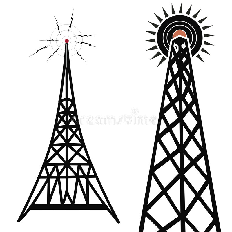 Download Radio Towers stock illustration. Illustration of drawing - 661439