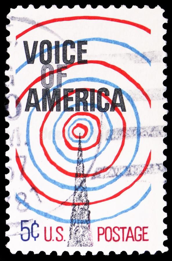 Radio Transmission Tower and Waves, Voice of America Issue serie, circa 1967. MOSCOW, RUSSIA - MARCH 30, 2019: A stamp printed in United States shows Radio stock images