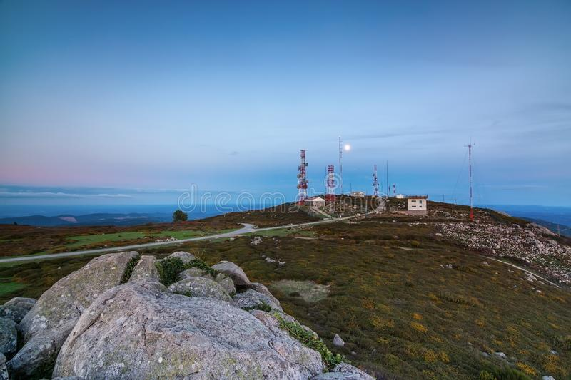 Radio TV station on the mountain Fioa, Monchique, Portugal stock photo