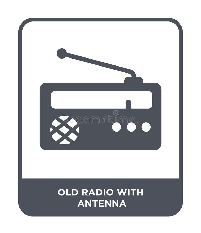 radio vieja con el icono de la antena en estilo de moda del diseño radio vieja con el icono de la antena aislado en el fondo blan ilustración del vector