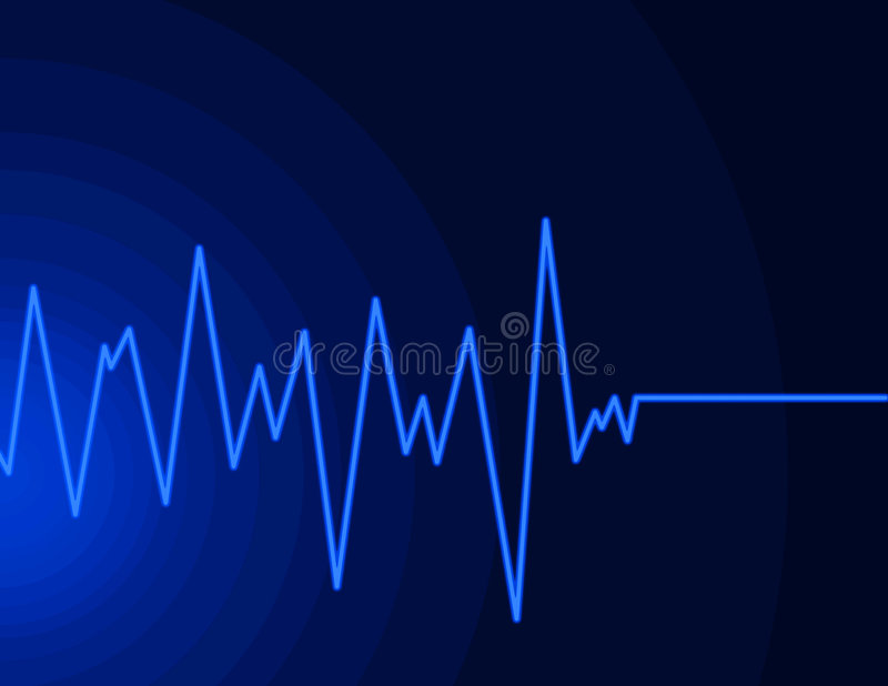 Radio wave - neon blue stock image
