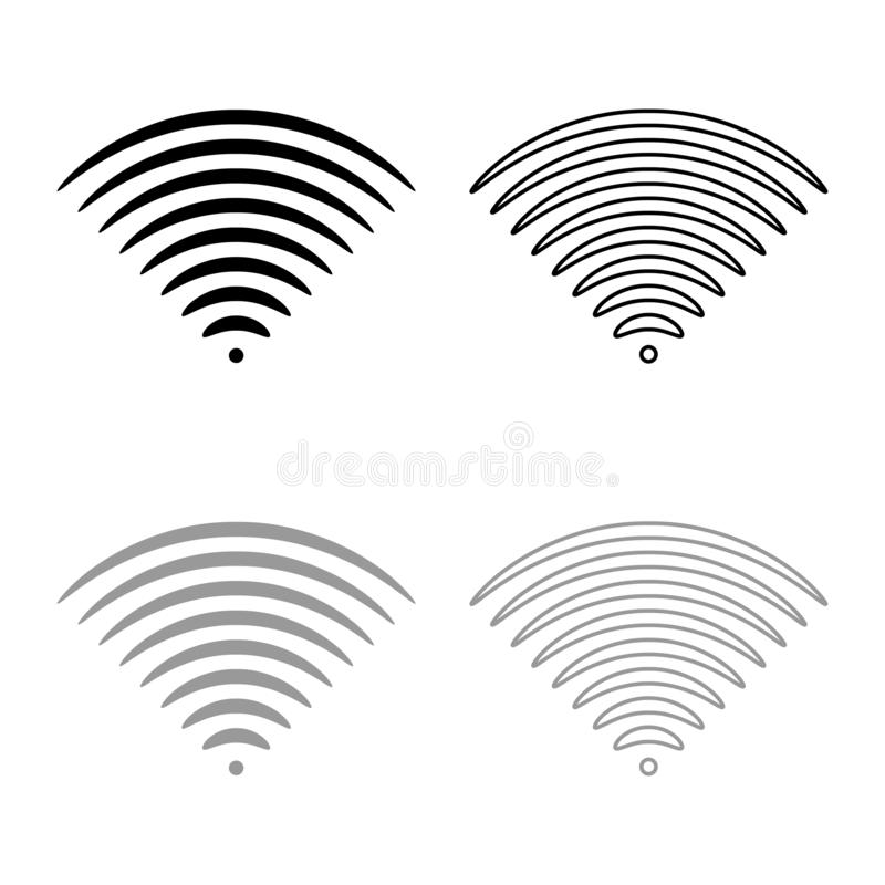 Radio wave Sound signal One dirrection Transmitter icon outline set black grey color vector illustration flat style image. Radio wave Sound signal One dirrection stock illustration
