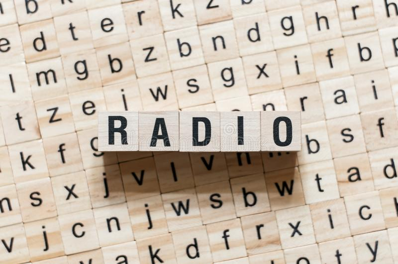 Radio word concept on cubes royalty free stock photos