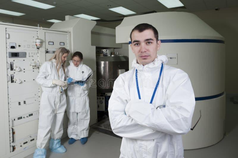 Radioactief laboratorium stock foto's