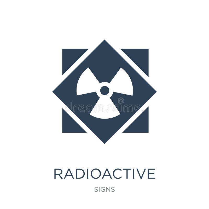 radioactief pictogram in in ontwerpstijl radioactief die pictogram op witte achtergrond wordt geïsoleerd radioactief vector eenvo vector illustratie