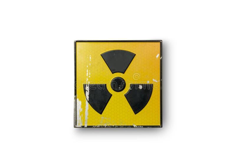 Radioactief teken op geel royalty-vrije stock foto's