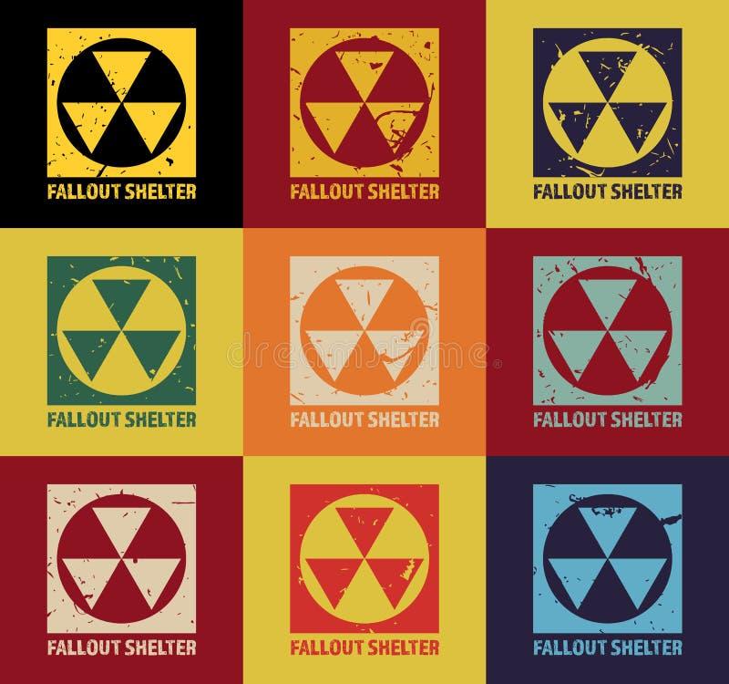 Radioactieve neerslagschuilplaats Uitstekend Kernsymbool Radioactief Streekteken Vector illustratie royalty-vrije illustratie
