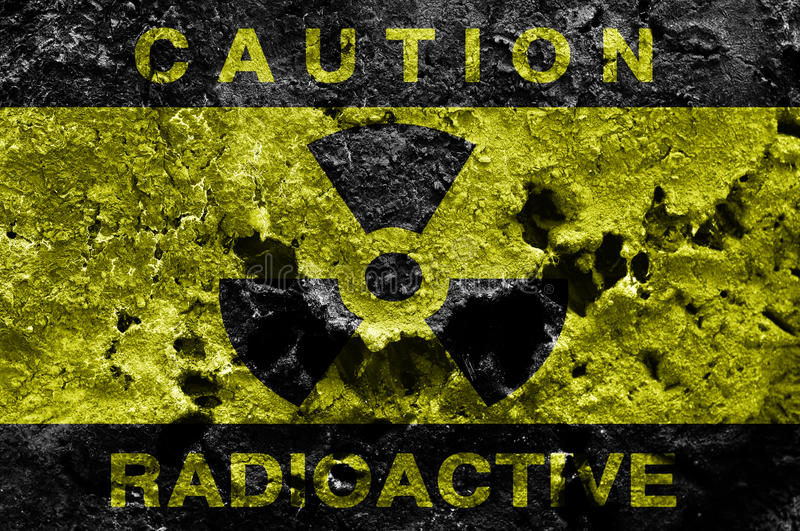 Radioactive background. Radioactive sign on old rusty metal barrel royalty free stock photos