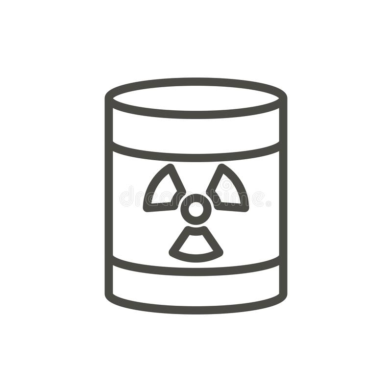 Radioactive barrel icon vector. Line toxic waste symbol isolated. Trendy flat outline ui sign desig. N. Thin linear dangerous barrel graphic pictogram for web royalty free illustration