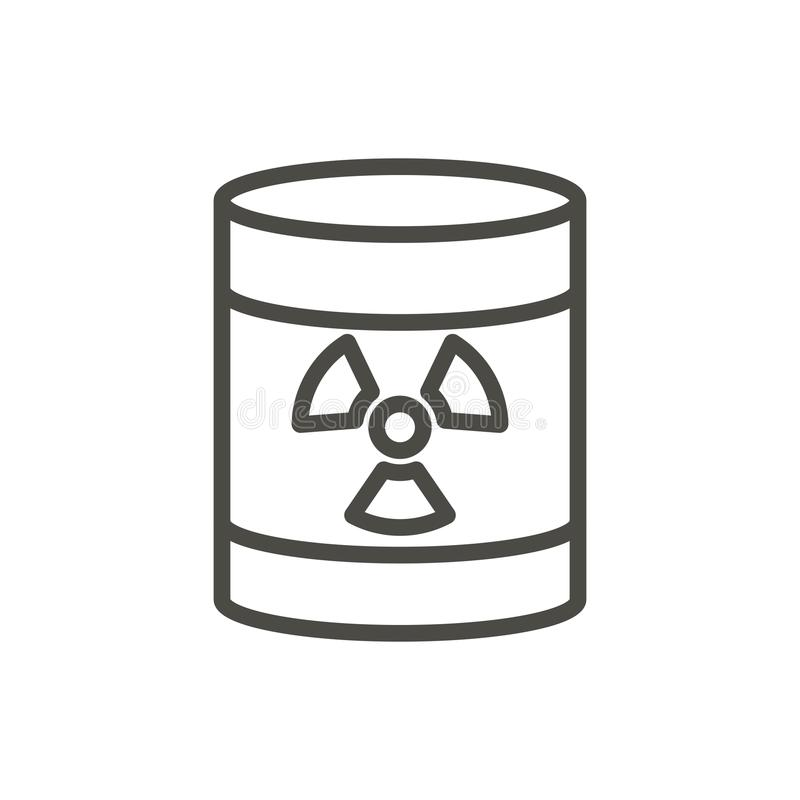 Radioactive barrel icon vector. Line toxic waste symbol isolated. Trendy flat outline ui sign design. Thin linear dangerous barrel graphic pictogram for web stock illustration